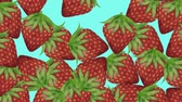 desenhado : Hand Drawn Strawberries On Blue Background. Great For Your Fruit, Health, Organic Food Projects. High Quality Animation.