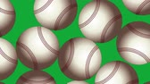 Baseball Balls On Background. Ideal For Your Sport Related Projects. Seamless Loop 4K, 60fps