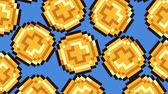 банковское дело : Big Falling 8-Bit Videogame Coins On Blue. Ideal For Your Gaming  Money projects. High-Quality Animation, 4K, 60fps Стоковые видеозаписи