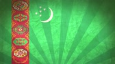 viñetas : Flag Of Turkmenistan. Close-Up On Wood, Shallow Depth Of Field, Seamless Loop. High-Quality Animation. Ideal for Your Country  Travel  Political Related Projects. 1080p, 60fps.