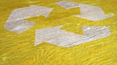 bidone : Yellow Recycle Sign Animation On Wood. Ideal for Your Recycling  Ecology Projects. High Quality Seamless Animation. 1080p, 60fps