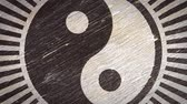 yin et yang : Yin Yang  Tai Chi Symbol On Wodden Texture. Ideal For Your Eastern Philosophy Related Projects. High Quality Seamless Animation. 4K, 60fps