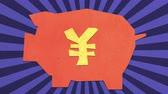 Money Savings Concept. Chinese Renminbi  Japanese Yen Sign. High Quality Stop Motion Animation