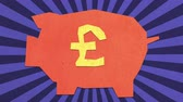 Money Savings Concept. British Pound Sign On A Piggy Bank. High Quality Stop Motion Animation