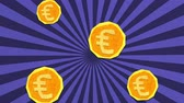 Money Savings Concept. Euro Coins Falling Seamlessly. High Quality Stop Motion Animation