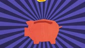 sunlights : Money Savings Concept. Euro Coins Falling Into Piggy Bank. High Quality Stop Motion Animation