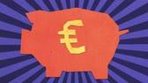 Money Savings Concept. Euro Sign On A Piggy Bank. High Quality Stop Motion Animation
