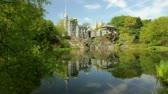 yeni : New York Citys Central Park with Belvedere Castle across water Stok Video