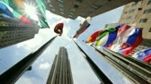 new york city : Flags of the world in New York City Rockefeller Plaza Stock Footage