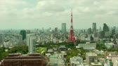 Япония : Tokyo Tower and downtown skyline, time lapse Стоковые видеозаписи