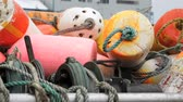 barco : Pile of buoys on a boat Stock Footage
