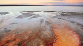 бактерии : Bright orange bacteria mats flowing into Yellowstone Lake, Yellowstone National Park, dolly shot