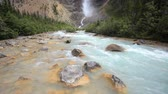 yoho : Yoho National Park, Takakkaw Falls draining into the Kicking Horse river, British Columbia, Canada, with high quality audio included Stock Footage