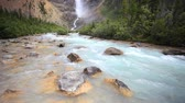 penhasco : Yoho National Park, Takakkaw Falls draining into the Kicking Horse river,  with high quality audio included, dolly shot