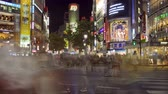 Busy Shibuya Crossing at night, time lapse, Tokyo, Japan