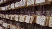 yazılı : Prayer tiles, Meiji Jungu Shrine. Prayers are written on a wooden tile and hung on a votive board. Stok Video
