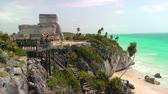 columbian : Tourists at Mayan Ruins in Tulum, Mexico