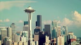 игла : Downtown Seattle cityscape with Space Needle, time lapse