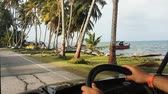 panama city : Scene from Colombia South America Slow Motion of San Andres Golf Cart driving round island