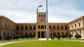 через : Scene from Asuncion Paraguay South America Motion Slow Pan Across National Parliament Building Palace Sunny Guards