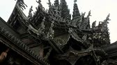 santuário : Scene from Sanctuary of Truth Thailand Asia Slow PAN Motion of the building and carvings Stock Footage