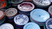 leather : Plates Market Stalls Central Square Souk Shopping Marrakesh Morocco