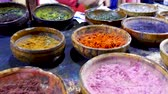 magasin vetement : Textiles Dyes Handmade items Souk Shopping Marrakesh Morocco