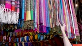 Woman Shopping Inspecting Clothes Central Square Market Stalls Marrakesh Morocco Stok Video