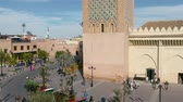 марокканский : Moulay El yazid Mosque everyday life street scene normal day Marrakesh Morocco Стоковые видеозаписи