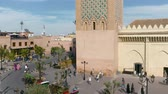 Moulay El yazid Mosque everyday life street scene normal day Marrakesh Morocco Stok Video