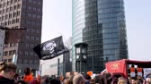 protesters : Berlin, Germany - March 23, 2019: Demonstration against EU Internet copyright reform  article 11 and article 13 in Berlin Germany Stock Footage