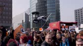 Berlin, Germany - March 23, 2019: Demonstration against EU Internet copyright reform  article 11 and article 13 in Berlin Germany Stok Video