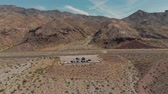 Las Vegas, United States - April 19, 2019: Drone shot of tourists and cars gathered at lake mead scenic view point near las vegas nevada