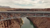 Marble Canyon, United States - April 19, 2019: Drone shot flying over the navajo bridge at marble canyon near page arizona
