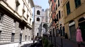 Genoa, Italy - July 1, 2019: 4k shot of Porta Soprana and famous walls of Genoa. One of three monumental gates the ancient gateway to anyone visiting the city. Top tourist attraction and must see