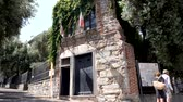 Genoa, Italy - July 1, 2019: 4k Quaint 18th-century reconstruction of the childhood home of famous explorer Christopher Columbus. Close to the Porta Soprana in Genoas old town. Top tourists Attraction Wideo
