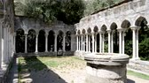 4k St Andrew cloister ruins. An old temple complex situated close to Porta Soprana and Christopher Columbus House in Genoa Italy. Interesting tourist attraction