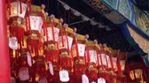 Red lanterns at Wong Tai Xin temple, Hong Kong Stok Video