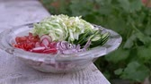 colorful backgrounds : Freshly chopped summer salad. Many delicious vegetables in glass salad bowl - cucumber, lettuce, radish, tomatoes, red onion