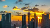 downtown : Shanghai skyline,day to night,time lapse(zooming out).