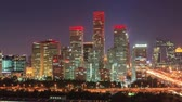 architektura : China, Beijing Central Business District-CBD, Day to Night, Time-LapsePanning Shot. Wideo