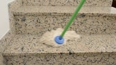 trabalhos domésticos : close up of a mop cleaning a staircase