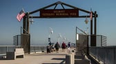kinderen lopen : Belmont Memorial Pier Time Lapse Video Stockvideo