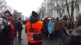 manchete : Strike in Ukraine - preparation for the march of the strikers.