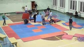 csatatér : Preparations for the competition: the installation of the mat tatami