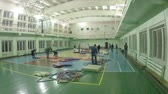 csatatér : Preparations for the competition: the installation of the mat tatami (timelaps) Stock mozgókép