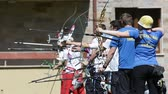 atirador : Sofia, Bulgaria - April 16, 2016: People are shooting with recurve bows during an archery competition.