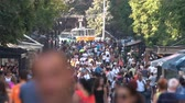 sábado : People walk the Vitosha boulevard in Saturday. Busy city street. Slow motion x5.