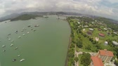 krajina : Aerial view of Bridge of the Americas across The Panama Canal
