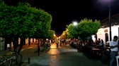 nicaragua : Granada, Nicaragua - April 14, 2016: La Calzada street view at night. Granadas economy continues to grow as it is becoming the national tourism hub.